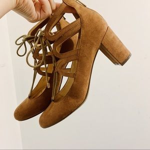 Unisa Taupe Suede Lace Up Block Heels
